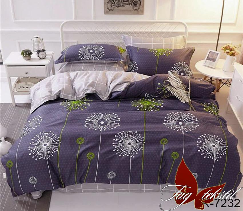 Двуспальный Евро комплект постельного белья Ранфорс  с компаньоном R7232