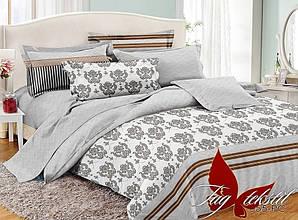 Двуспальный Евро комплект постельного белья поплин  с компаньоном PC055