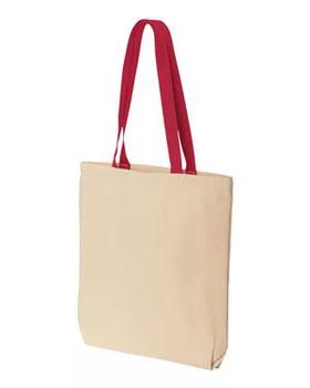 Эко сумка для сублимации с красной ручкой, размер 35х41х8 см. (с дном.)