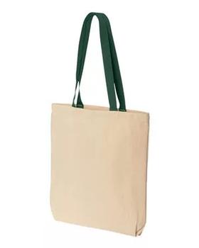 Эко сумка для сублимации с зеленой ручкой, размер 35х41х8 см. (с дном.)