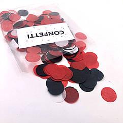 Конфетти бумажное червоно-черный  микс 10 г