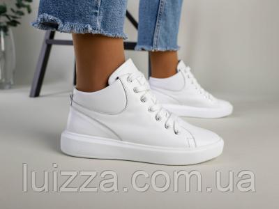 Женские белые кожаные слипоны на шнурках