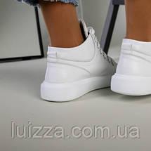 Женские белые кожаные слипоны на шнурках, фото 2