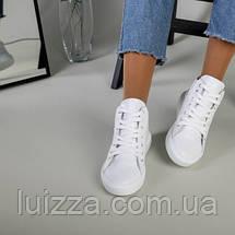 Женские белые кожаные слипоны на шнурках, фото 3