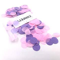 Конфетти бумажное розово-сиреневый  микс 10 г