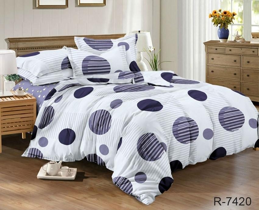 Двуспальный Евро комплект постельного белья Ранфорс с компаньоном R7420