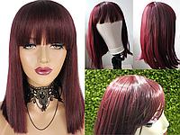 Парик бордовый (красный) с челкой, имитация кожи головы (LH234)