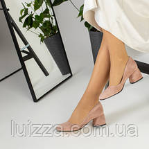 Лодочки женские замшевые, цвет пудра 36, фото 3