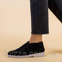 Лоферы женские замшевые черные на байке, фото 3