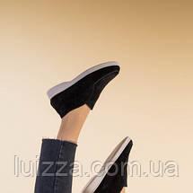Лоферы женские замшевые черные на байке, фото 2