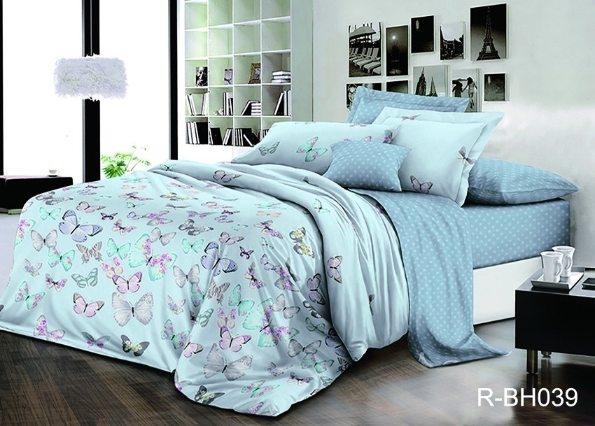 Двуспальный Евро комплект постельного белья Ранфорс с компаньоном R-BH039