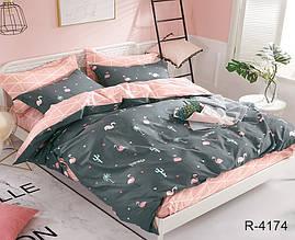 Двуспальный Евро комплект постельного белья Ранфорс  с компаньоном R4174