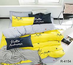 Двуспальный Евро комплект постельного белья Ранфорс  с компаньоном R4154