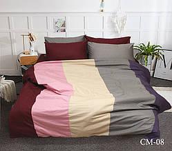 Двуспальный Евро комплект постельного белья Сатин Color mix CM-08