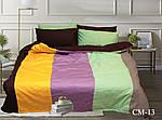 Двоспальний Євро комплект постільної білизни Сатин Color mix CM-13, фото 2