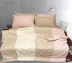 Двуспальный Евро комплект постельного белья Сатин Color mix CM-01