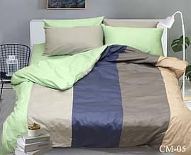 Двуспальный Евро комплект постельного белья Сатин Color mix CM-05