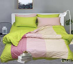 Двуспальный Евро комплект постельного белья Сатин  Color mix CM-07
