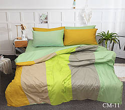 Двуспальный Евро комплект постельного белья Сатин  Color mix CM-11