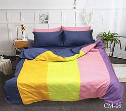 Двуспальный Евро комплект постельного белья Сатин  Color mix CM-09