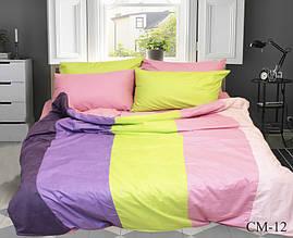 Двуспальный Евро комплект постельного белья Сатин  Color mix CM-12