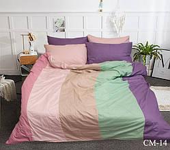 Двуспальный Евро комплект постельного белья Сатин  Color mix CM-14