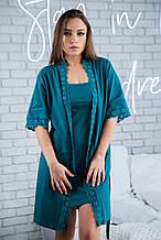 Комплект трикотажный  халат + ночная рубашка изумруд