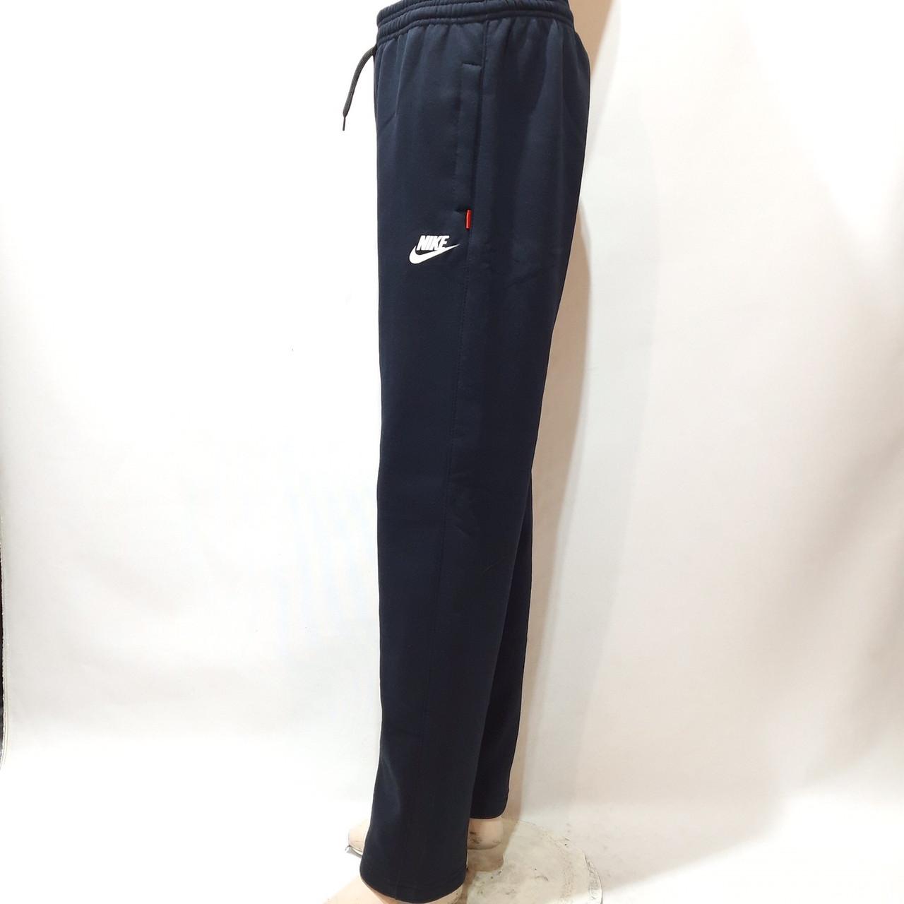 Чоловічі теплі спортивні штани (Великих розмірів) прямі Nike (Найк) з трикотажу Темно-сині
