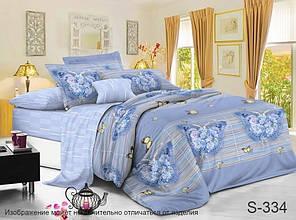 Двуспальный ЕВРО МАКСИ комплект постельного белья Сатин Люкс с компаньоном S334