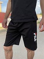 Молодежные мужские модные трикотажные черные шорты Fila, стильные спортивные шорты для парня