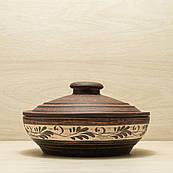 Жаровня глиняна мала, різьблений візерунок, ангоб 1,4 л
