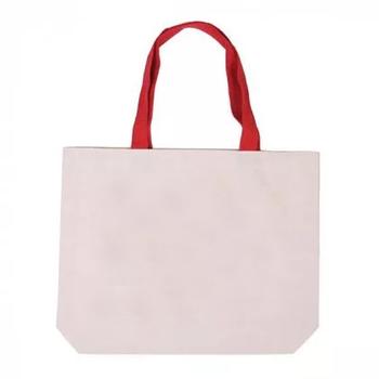 Еко сумка для сублімації 42х10х35 див. з дном з червоною ручкою