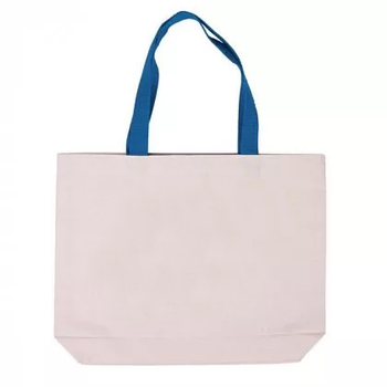 Еко сумка для сублімації 42х10х35 див. з дном з синьою ручкою