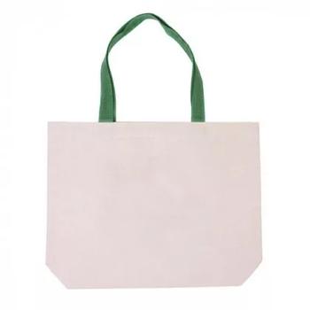 Еко сумка для сублімації 42х10х35 див. з дном з зеленою ручкою