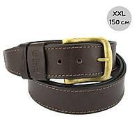 Ремень мужской кожаный батал Handycover HC0072 коричневый XXL (150 см)