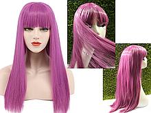 Парик розовый с челкой, имитация кожи головы (LH234)