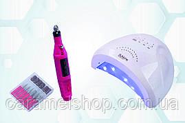 Набор гибридная лампа Sun One  + фрезер для маникюра MPS-08 13000 об/мин