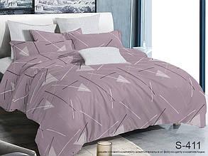 Двуспальный ЕВРО МАКСИ комплект постельного белья Сатин Люкс с компаньоном S411