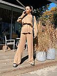 Женский вязаный костюм двойка с брюками клеш и свободным свитером с высоким воротником 71101439, фото 6