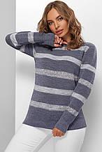 Джемпер в смужку Шанталь джинс світлий (44-50)