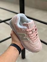 """Зимние кроссовки на меху New Balance 574 """"Розовые"""", фото 2"""