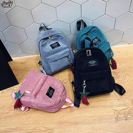 Модный вельветовый рюкзак с брелком, фото 2