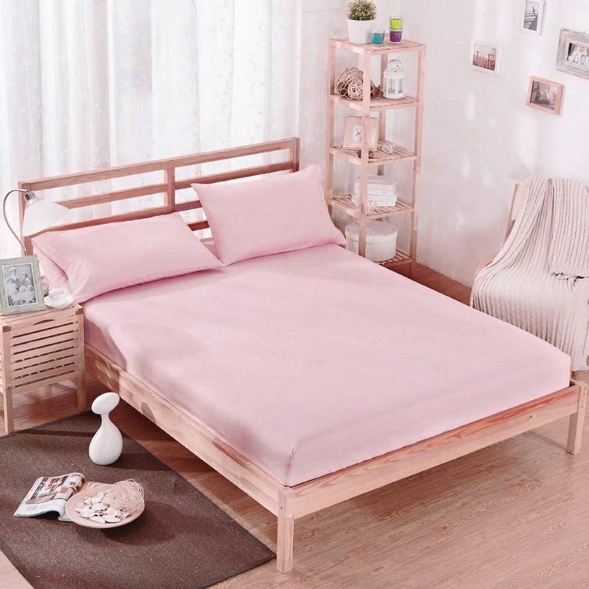 Простынь на резинке розового цвета 180х200х20 см