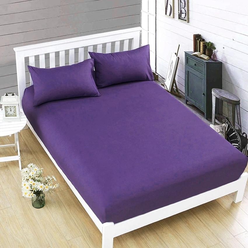 Простынь на резинке фиолетового цвета 180х200х20 см