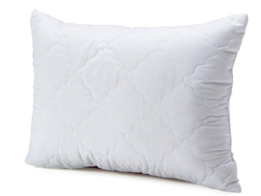 Белая подушка микрофибра с наполнителем холлофайбер 50х70 см