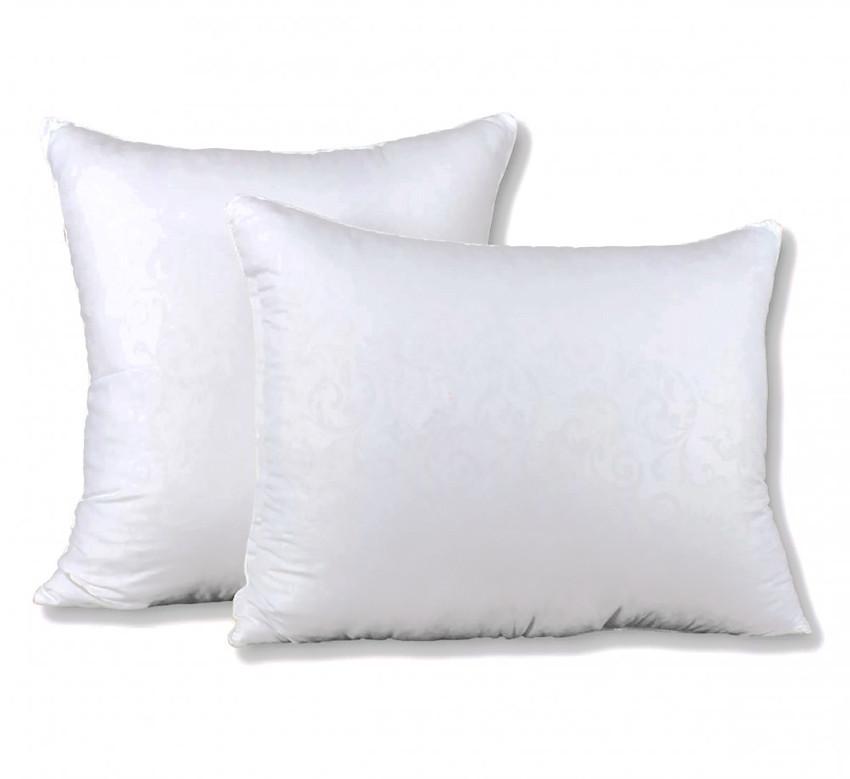 Біла подушка мікрофібра з наповнювачем штучний лебединий пух 50х70 см