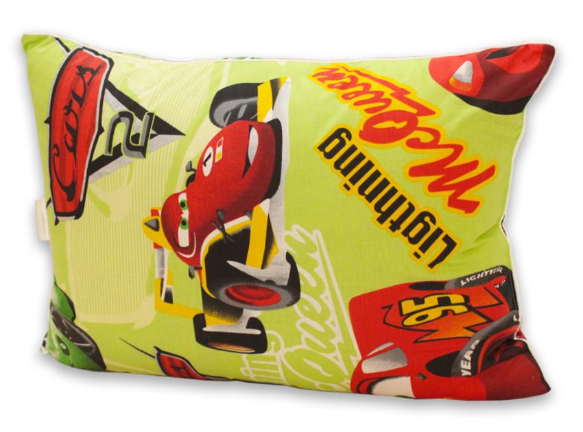 Желтая подушка с тачками и наполнителем искусственный лебяжий пух 40х60 см