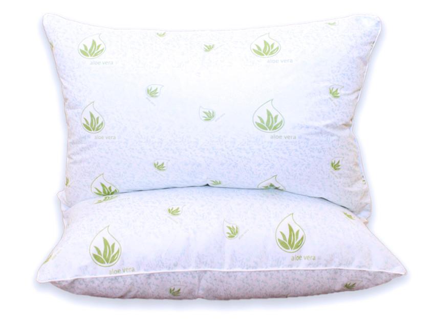 Белая подушка с узором и наполнителем экопух 50х70 см