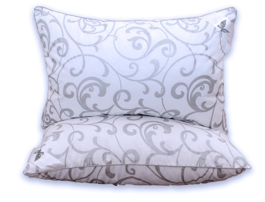 Біла подушка з візерунком і наповнювачем штучний лебединий пух 70х70 см