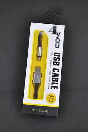 Кабель Usb-cable iPhone 5 4you Yukon (2100mah, Ткань, черный) , фото 2
